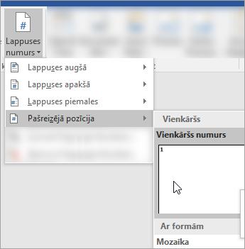 Ekrānuzņēmums, kurā parādīts, izvēloties vienkāršs Formatēt lappuses numuru pašreizējā atrašanās vietā dokumentā