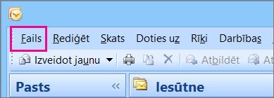 Programmā Outlook2007 izvēlieties cilni Fails.