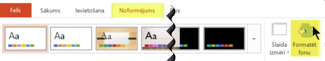 Poga Formatēt fonu atrodas programmas PowerPoint lentes cilnē Noformējums