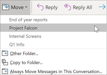Ziņojuma pārvietošana uz mapi programmā Outlook