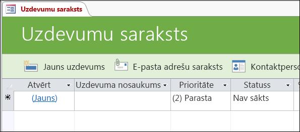 Uzdevumu saraksta forma Access uzdevumu datu bāzes veidnē