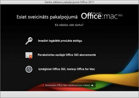 Ekrānuzņēmums, kurā redzama Office for Mac 2011 iepazīšanās lapa
