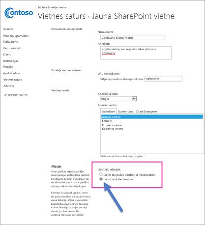 Jaunajā SharePoint vietņu lapā izvēlieties opciju Unikālas atļaujas.
