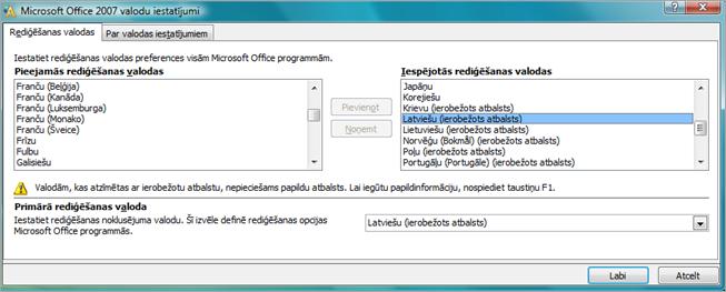Valodas iestatījumi sistēmā Office2007