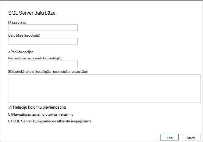 Dialoglodziņš SQL Server datu bāze