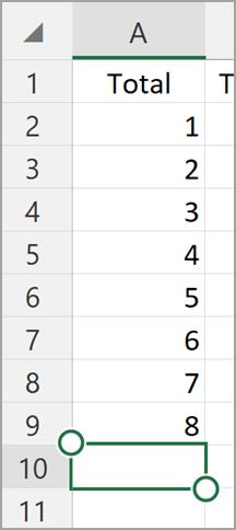 Windows planšetdatora Excel Automātiskā summa