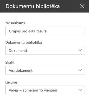 Dokumentu bibliotēkas tīmekļa daļas iestatījumi