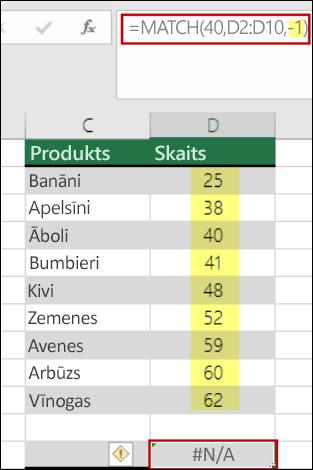 funkcija Excel Match