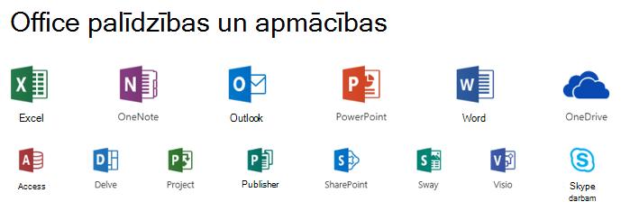 Microsoft Office atbalsta opcijas