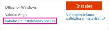 Valodas un instalēšanas opcijas pakalpojumam Office365