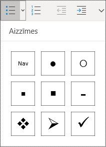 Atlasīta poga Saraksts ar aizzīmēm sākuma izvēlnes lentē programmā OneNote darbam ar Windows10.