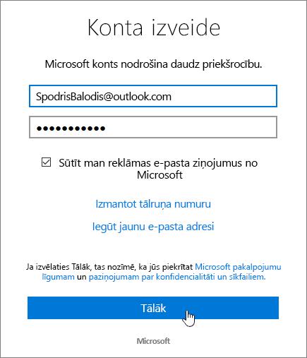 Ekrānuzņēmums, kurā redzams izveidot Microsoft Account dialogu.