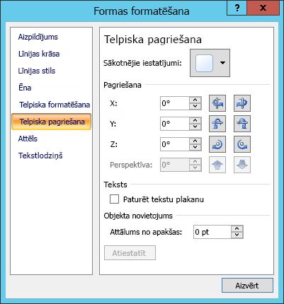 3D rotācijas opcijas dialoglodziņā Formas formatēšana