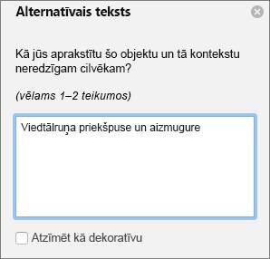 Excel 365 rakstīt alternatīvais teksts dialoglodziņa attēlu