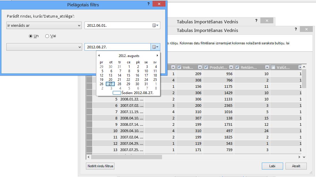 Tabulu importēšanas vedņa filtrēšanas rūts