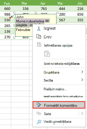 Formatējiet komentāru, atlasot tekstu, ko vēlaties formatēt, pēc tam noklikšķiniet ar peles labo pogu un atlasiet Formatēt komentāru.
