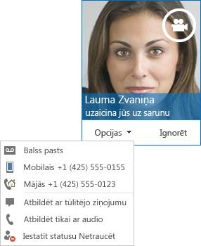 Video zvana brīdinājuma ar augšējā stūrī redzamu kontaktpersonas attēlu ekrānuzņēmums