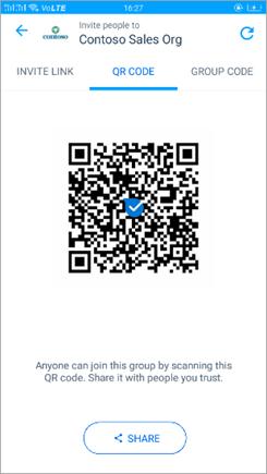Ekrānuzņēmums ar QR kodu lapu programmā Kaizala