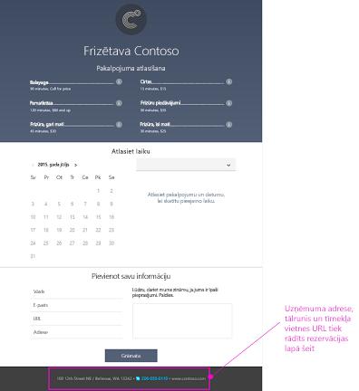 Rezervēšanas lapas izmanto klienti piemērs