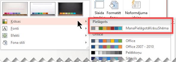 Kad esat definējis pielāgotu krāsu shēmu, tā parādās krāsu nolaižamajā izvēlnē