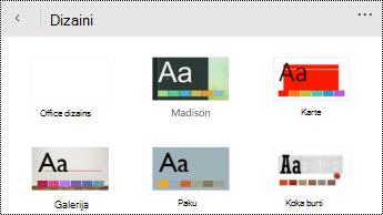 Tēmas izvēlne programmā PowerPoint Mobile darbam ar Windows tālruņos.