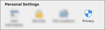 Konfidencialitātes ikona sadaļā lietojumprogrammas preferences.