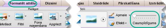 Attēlu slīdni Caurspīdīgums ir cilnes Formatēšana attēls, ja slaidā ir atlasīts attēls