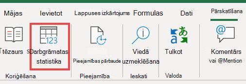 Komanda darbgrāmatas statistika Excel lentē
