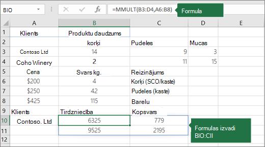 Funkcija MMULT — 2. piemērs