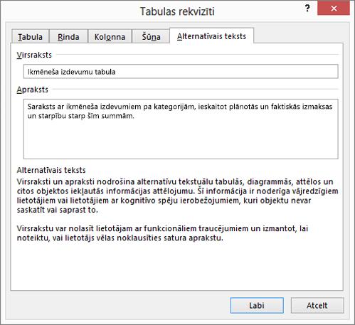 Ekrānuzņēmums ar cilni Alternatīvais teksts dialoglodziņā Tabulas rekvizīti