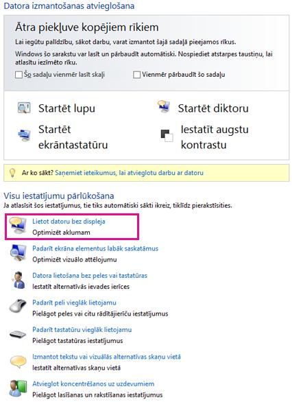 Vieglpiekļuves centrs operētājsistēmā Windows