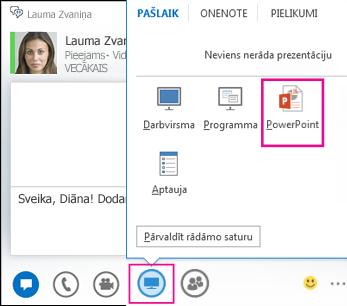 PowerPoint pievienošanas tūlītējai ziņojumapmaiņai ekrānuzņēmums