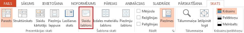 Opcija Slaidu šablons atrodas cilnē Skats.