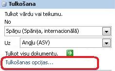 Tulkošanas opcijas