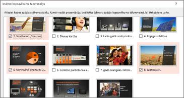 Visu prezentācijas slaidu kopsavilkuma skats. Atlasīti ir 3.