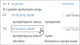Dialoglodziņa poga versiju nolaižamais saraksts