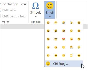 Cilnē ievietošana noklikšķiniet uz vairāk Emojis par Emojis, lai izvēlētos no visām pieejamajām Emojis.