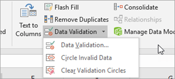 Datu validācijas izvēlne