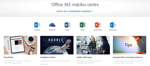 Office apmācību centra sākumlapa ar dažādu Office programmu ikonām un pieejamo satura tipu elementiem