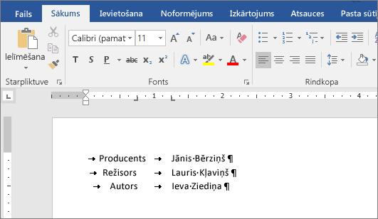 Piemērs, kurā redzams pie mērjoslas tabulēšanas pieturām līdzināts teksts.