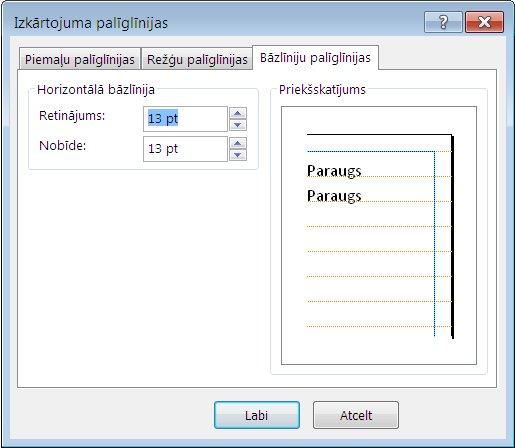 Programmas Publisher dialoglodziņš Izkārtojuma palīglīnijas, kurā tiek rādīta cilne Bāzlīniju palīglīnijas.