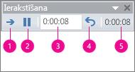 rāda ierakstīšanas laiku lodziņu programmai powerpoint