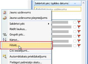 Uzdevumu saraksta filtrēšanas komanda