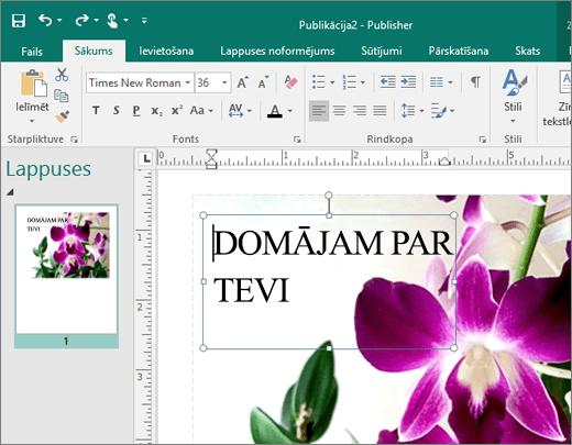 Ekrānuzņēmums ar tekstlodziņu Publisher faila lapā.