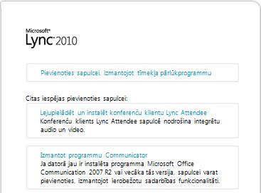 Pārlūkprogrammas loga attēls ar Lync lejupielādes saiti
