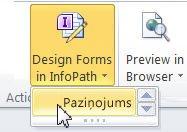 InfoPath sarakstu veidlapas koplietošanas vidē SharePoint