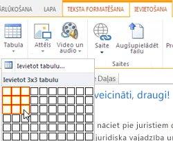 Tabulas ievietošana SharePoint Online publiskajā tīmekļa vietnē