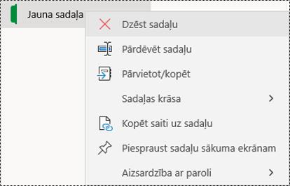 Ekrānuzņēmums ar sadaļas cilnes dzēšanas kontekstizvēlni programmā OneNote darbam ar Windows10.
