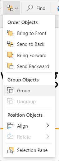 Izvēlne sakārtot, kurā redzami grupas objekti