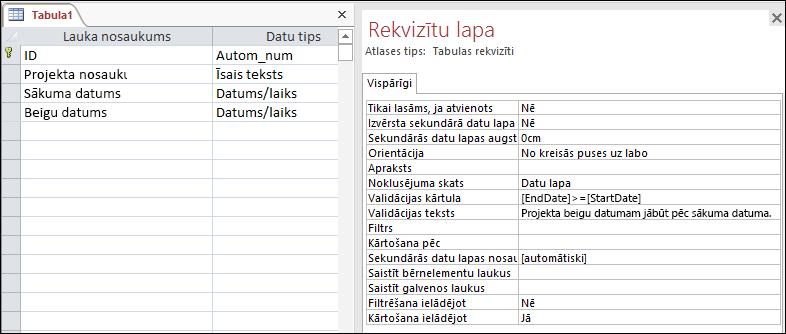 Tabulas validācijas kārtula Access tabulas noformētājā.
